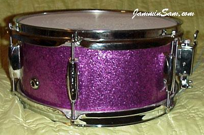 Photo of Scott Aitcheson's snare with Purple Vintage Sparkle drum wrap