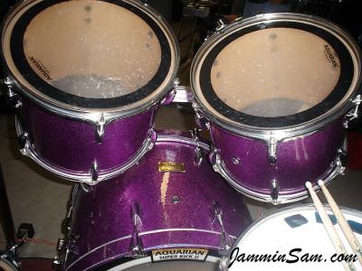 Photo of Troy Rachau's Pearl drums with Purple Vintage Sparkle drum wrap (16)