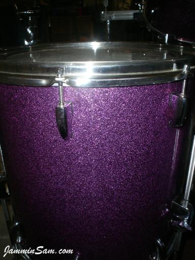 Photo of Troy Rachau's Pearl drums with Purple Vintage Sparkle drum wrap (17)