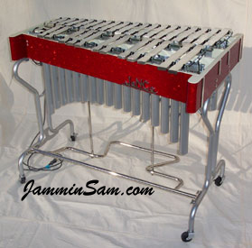Photo of Bob Chesarek's Vibraphone with Red Glass Glitter wrap (2)