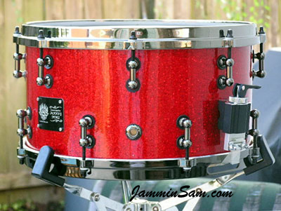Red Glass Glitter drum wrap on Brian Cocivera's snare drum