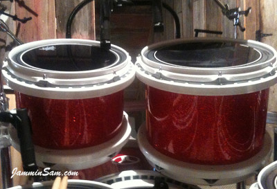 Photo of Chad Scott's Peavy drums with Red Glass Glitter drum wrap (24)
