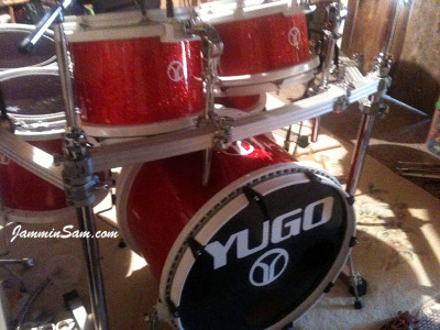 Photo of Chad Scott's Peavy drums with Red Glass Glitter drum wrap (27)