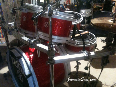 Photo of Chad Scott's Peavy drums with Red Glass Glitter drum wrap (29)