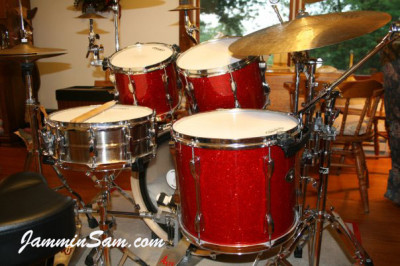 Photo of Matt Clise's Tama Rockstar drums with Red Glass Glitter drum wrap (1)