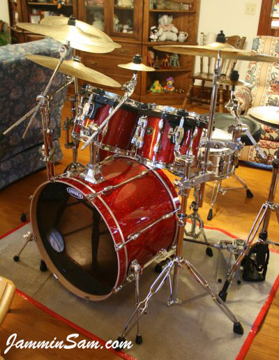 Photo of Matt Clise's Tama Rockstar drums with Red Glass Glitter drum wrap (3)