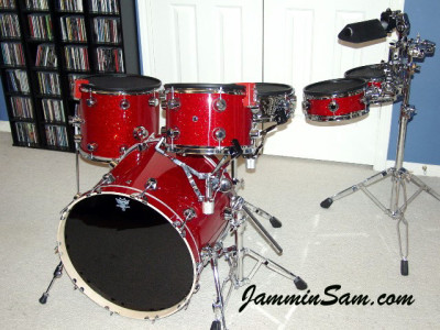 Photo of Paul Huskins' drums with Red Glass Glitter drum wrap (1)