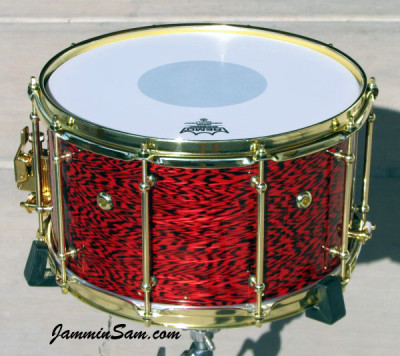 Photo of Anthony Falkner's snare with Vintage Red Onyx Pearl drum wrap (12)