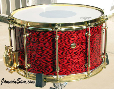 Photo of Anthony Falkner's snare with Vintage Red Onyx Pearl drum wrap (16)