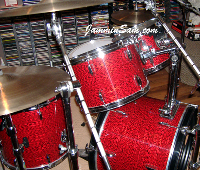 Photo of Robert Britney's drums with Vintage Red Onyx Pearl drum wrap (1)