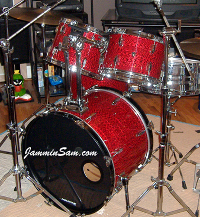 Photo of Robert Britney's drums with Vintage Red Onyx Pearl drum wrap (2)