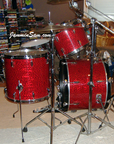 Photo of Robert Britney's drums with Vintage Red Onyx Pearl drum wrap (4)