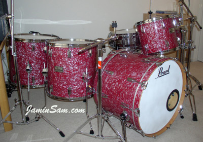 Photo of Dave Lepacik's 1982 Pearl drums with Red Pearl drum wrap (1)