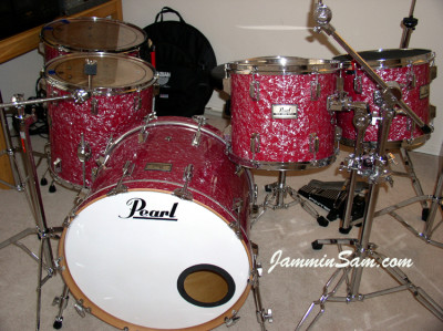 Photo of Dave Lepacik's 1982 Pearl drums with Red Pearl drum wrap (2)