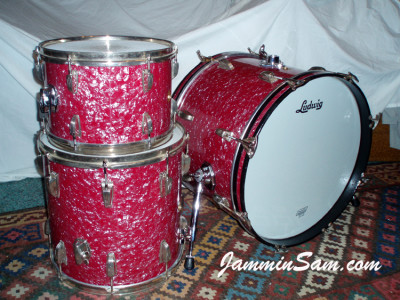 Photo of Paul Hill's 1964 Ludwig drums with Red Pearl drum wrap