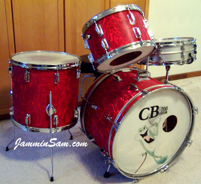 Photo of Evan Whitehouse's drumset with Red Satin Flame drum wrap (2)