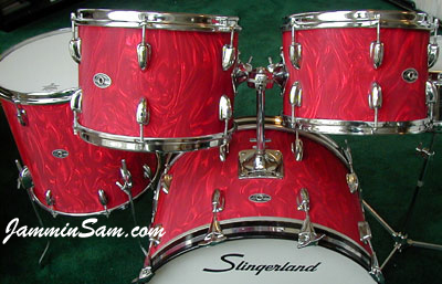Photo of Jesse Carraway's Slingerland tom with Red Satin Flame drum wrap (2)