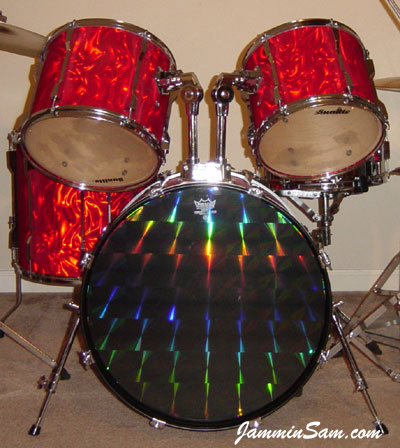 Red Satin Flame drum wrap on Randy Knight's Sunlite drums (2)