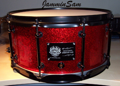 Photo of Brian Cocivera's drums with Red Vintage Sparkle drum wrap (1)