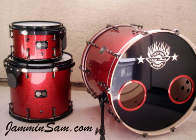 Photo of Brian Cocivera's drums with Red Vintage Sparkle drum wrap (2)