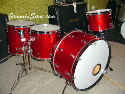 Photo of Jeff Gensterblum's Ludwig drums with Red Vintage Sparkle drum wrap