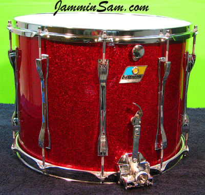 Photo of Neal Braatz's Ludwig snare drum with Red Vintage Sparkle drum wrap
