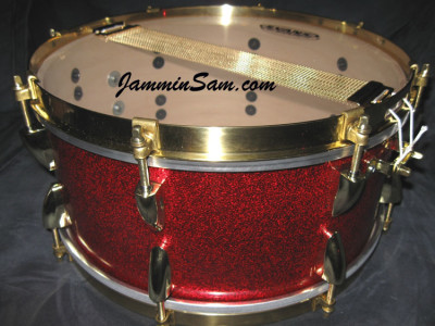 Photo of Paul Hunt's snare drum with Red Vintage Sparkle drum wrap (1)