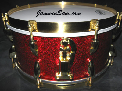 Photo of Paul Hunt's snare drum with Red Vintage Sparkle drum wrap (2)