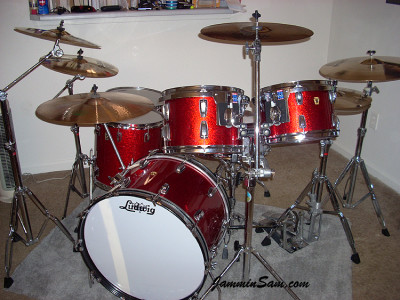 Photo of Tim Diehm's Ludwig drums with Red Vintage Sparkle drum wrap (89)