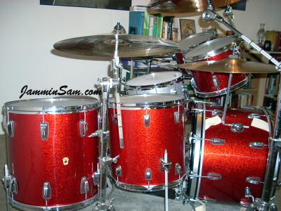 Photo of Tim Diehm's Ludwig drums with Red Vintage Sparkle drum wrap (91)