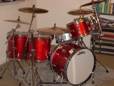 Photo of Tim Diehm's Ludwig drums with Red Vintage Sparkle drum wrap (98)