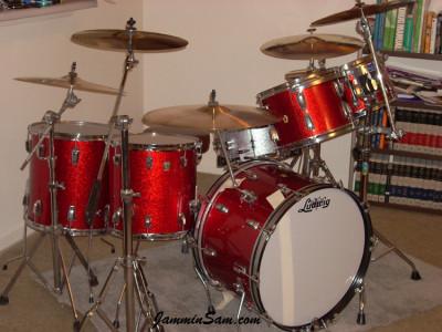 Photo of Tim Diehm's Ludwig drums with Red Vintage Sparkle drum wrap (98)