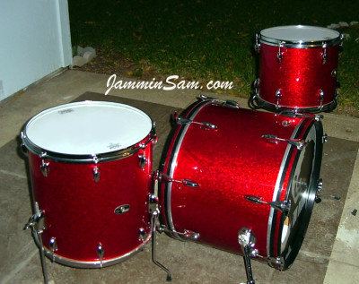 Photo of Tony Harper's Slingerland drums with Red Vintage Sparkle drum wrap
