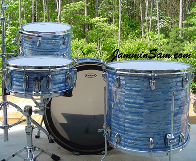 Photo of Davey Staton's drums with Retro Sky Blue Pearl drum wrap (6)