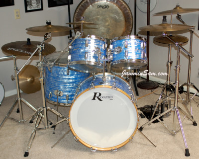 Photo of on Rob Corn's Rogers drum set with Retro Sky Blue Pearl drum wrap (1)