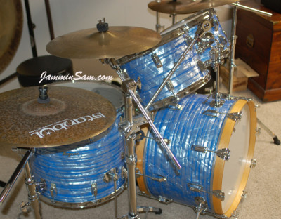 Photo of Rob Corn's Rogers kit with Retro Sky Blue Pearl drum wrap (3)