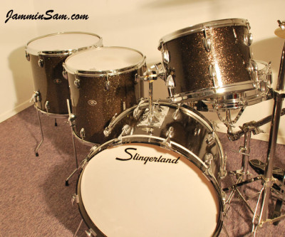 Photo of Dave Wade's Slingerland drums with Rootbeer Glass Glitter drum wrap (1)