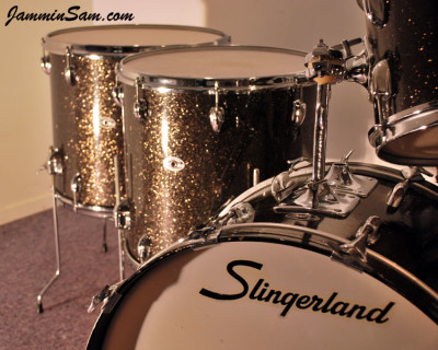 Photo of Dave Wade's Slingerland drums with Rootbeer Glass Glitter drum wrap (3)
