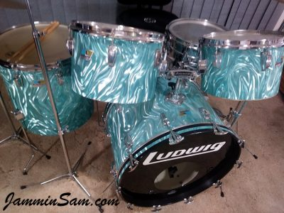 Photo of Joe Ullo's Ludwig drums wrapped with Turquoise Satin Flame (34)