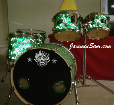 Photo of drum set from Brian Cocivera of Fire Green Satin drum wrap