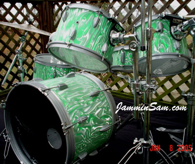 Photo of Todd Janes' drums with Satin Fire Green drum wrap