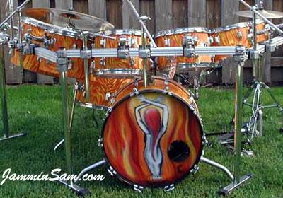 Photo of George Gomez's Rogers set with Fire Orange Satin drum wrap (2)