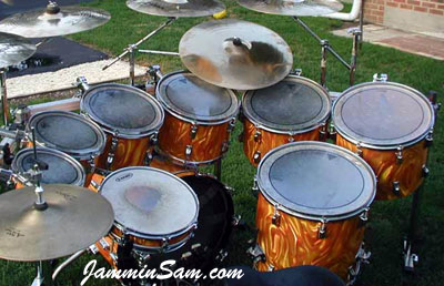 Photo of George Gomez's Rogers drums with Fire Orange Satin drum wrap (3)