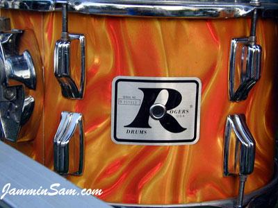 Photo of George Gomez's Rogers tom drum with Fire Orange Satin drum wrap (4)