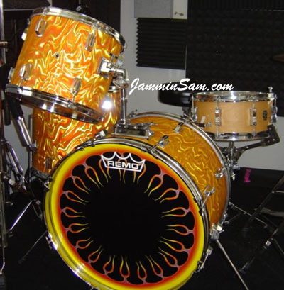 Photo of Nick Bomleny's drums with Fire Orange Satin drum wrap (2)