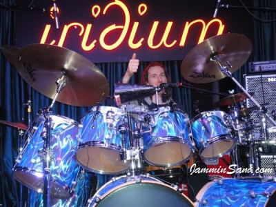 Photo of Kofi Baker's drums with Fire Purple Satin drum wrap (2)