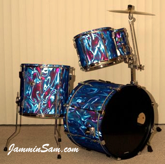 Photo of Poole's drums with Fire Purple Satin drum wrap (2)
