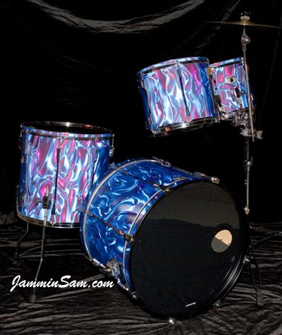 Photo of Poole's drums with Fire Purple Satin drum wrap