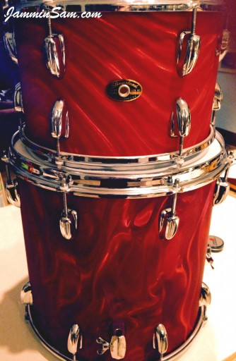Photo of Bruce Hutchins' drumset with Red Satin Flame drum wrap (3)