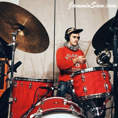 Photo of Bruce Hutchins' drumset with Red Satin Flame drum wrap (4)